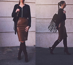 Zori Ivanova - Zara Faux Leather Pencil Skirt, Zara Black Silk Shirt, Guess? Brown Suede Boots, H&M Velvet Fringe Purse - FRINGES & SUEDE