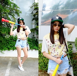 Zaira Chan - Sm Gtw Crop Top, Romwe Shorts, Anwco Leather Snapback, Ray Ban Aviators, Abby Jocson Bag - Shake It Off