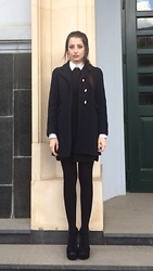 Lil Alina - Zara White Shirt, Dark Blue Dress, Pinko Coat, Steve Madden Heels - Preppy School Girl