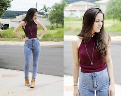 Gabriela Araujo - Forever 21 Burgundy Top, Ebay Yin Yang Tattoo Chocker, Forever 21 Jeans, Capodarte Cut Out Boots - Sunshine of your love