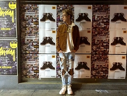Do B - Os Accessories Bone Necklace, Topman Coduroy Jacket, Zara Destroyed Jeans, Converse Sneakers - First Look 2015!!!