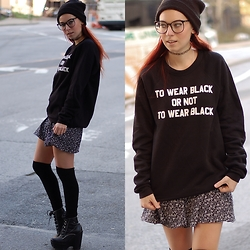 Ashley Laderer - H&M Over The Knee Socks, Jeffrey Campbell Tardy Platform Heels, H&M Floral Skirt, Jawbreaking To Wear Black Sweatshirt, Etsy Tattoo Choker, H&M Beanie - To wear black or not to wear black