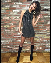 RAY RAY - Vintage Mini Dress, Guess? Knee High Suade Boots, H&M Disco Earrings - 2 0 1 5 //