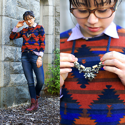 Micaela Hoo - Forever 21 Sweater, J. Crew Button Down Shirt, Loft Necklace, Paige Denim Jeans, Freebird By Steven Boots - Native
