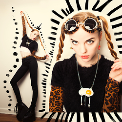 Ruby June - Illustrated People Leopard Crop, Illustrated People Black Crop, Frontrowshop Omelette Necklace - Cattitude
