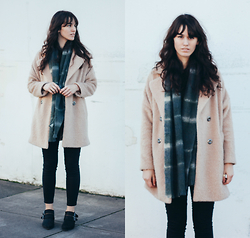 Tonya S. - Free People Miss Molly Textured Overcoat, Shellys London Comparni Boot, Madewell Plaid Scarf, Black Denim - Colder Days