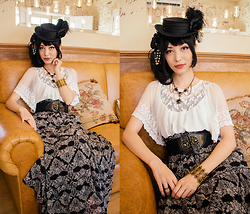 Carolina Sakuma - Triple Fortune Hat, Chess Story Hair Piece, Tao Bao Necklace, Gift Bracelet, Talita Kume Lace Top, Tank Top, Tao Bao Rose Belt, Tao Bao Long Skirt, Le Café Crown Ring - 141207 chez moná