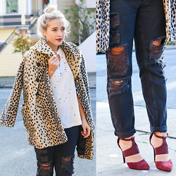 Bryn Newman (Stone Fox Style) - Steve Madden Maroon Heels, Urban Outfitters Distressed Black Jeans With Studs, Forever 21 Faux Leopard Jacket - Stressed, Distressed, but well Dressed