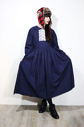 Ping Chiu Armando - Fairy Farm Factory Navy Dress, Asos Trapper Hat - Trapper Hat