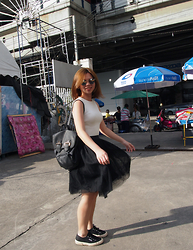 Ashley - Asos Backpack, Aforarcade Tulle Skirt, The Editor's Market Basic Knit Top, Superga 2750 - Running around in tulle