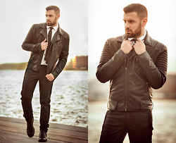 Panagiotis Kelebesis - H&M Leather Jacket, H&M Shirt, Bershka Tie, Bershka Leather Pant - California dreaming....