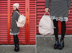 Emma Istvanffy - Sixkisses Dress, Stradivarius Backpack, Blackfive Boots, Forever 21 Beanie, Frontrowshop Lace Dress - Sweater - Dress