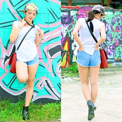 Emafe Rice - Obey Hat, Vintageshortsph Blue Denim High Waisted Shorts, Nccc Cross Necklace, Karyzboutique Sling Bag - Swagger