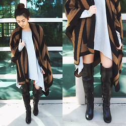 Kelsy N - Vince Camuto Kylar Over The Knee Boots, Urban Outfitters Graphic Stripe Open Poncho, Urban Outfitters Project Social T Off The Shoulder Tunic Top - 02