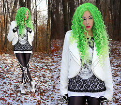 Lauren H - Forever 21 White Zipper Trim Jacket, Express Black Lace Skull Top, Dr. Martens White, Amazon Skeleton Leggings - Bad to the Bone