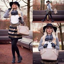 Oksana Orehhova - Sheinside Sweater, Sheinside Skirt, Alexander Black Bag - COZY CHIC