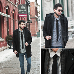 Bobby Raffin - Coach Crosby Wool Duffle Coat, Ulterior Motive Knit Knot Tie, Zerouv Vintage Half Frame Clubmasters, Levi's® Grey Button Up, Levi's® 501 Blue Jeans - Charcoal and Chill