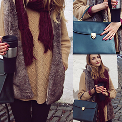 Julia - Zara Scarf, Stradivarius Sweater, Bershka Faux Fur Vest - Fir Green Vintage Bag