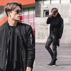 Georg Mallner - Topman Bomberjacket, Asos T Shirt, Hugo Boss Waxed Pants, Dr. Martens Boots, Zara Scarf, Urban Outfitters Sunglasses - January 09, 2015