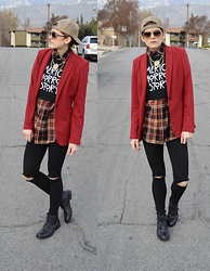 Bethany R. - Blazer, American Eagle Outfitters Jeggings, Ankle Boots, Flannel - Something Different