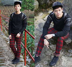 Angel Tacbad - Forever 21 Spiked Cap, Zara Sweatshirt With Zipper, Zara Plaid Pants, H&M Scuba Like Shoes - Plaid Spinel