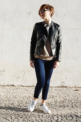 Maria Marques - Stradivarius Leather Jacket, Zara Knit, Pull & Bear Jeggins, Adidas Stan Smith - Light up, Smith!