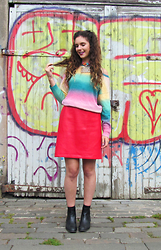 Jess A - Shop Jessthetics Pleather Skirt, H&M Rainbow Jumper, Sassy World Choker, New Look Chelsea Boots - Sassy World
