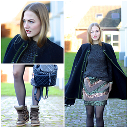 Floortje Van Cooten - Asos Cape, Maje Sweater, H&M Skirt, Isabel Marant Sneakers - WOOL AND SEQUINS