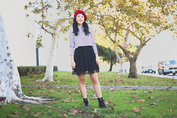 Rachel Park - Forever 21 Striped Cropped Long Sleeve, Kohl's Tulle Dress, Dr. Marten's Boots - WELCOME 2015
