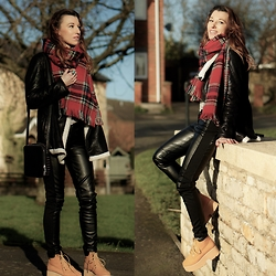 Agata P - Oasap Plaid Scarf, Style Moi Stylemoi Pants, Boots - Can't Destroy What Isn't There