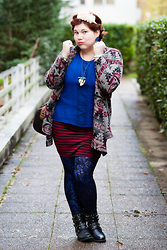 Ninaah Bulles - C&A Top, New Look Skirt, La Redoute Tight, Asos Boots, Kiabi Blazer - Bleu dentelle