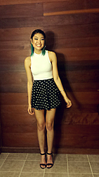 Michelle Pan - Thrifted White Mock Neck Top, Polka Dot Circle Skirt - When You Call On Me