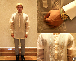 Joamar-John Canosa - Bergamo Barong, Platinum Tailored Pants, Seiko Watch, Milanos Shoes - BARONG CEREMONIES.