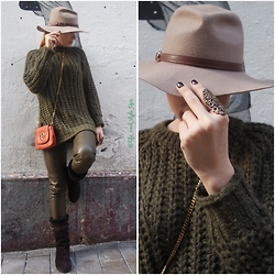 Selin - Zara Green Leather Pants, Louis Vuitton Boots, Gucci Orange Bag, Accessorize Hat - Malaga Streets