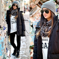 Macarena Ferreira - Forever 21 Jacket, Forever 21 Beanie, Dr. Martens Shoes, Ray Ban Sunglasses - Philly.