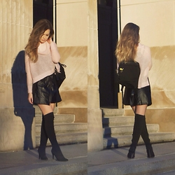 Julia Weber - River Island Sweater, Nasty Gal Skirt, Nine West Boots - Thigh high