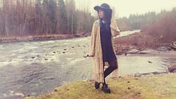 Ariel Martin-Reed - Roxy Long Cream Sweater, Forever 21 Navy Dress, Forever 21 Black Floppy Hat, Love Sick Cross Tights, T.U.K Creepers - Boho Explorer