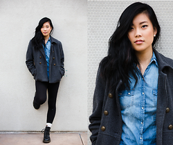 Cleo - Forever 21 Denim Button Up, Dr. Martens Doc - Winter Blues