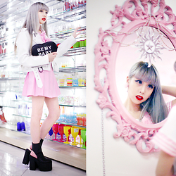 Essy Noir - Tickled Shop Be My Baby Purse, Tickled Shop Pink Pastel Seifuku, Unif Boyle Platform - Be My Baby