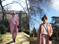 Astrid Sp4nk Blog - Asos Pink Pant, Elisabeth Stuart Kiss Shoes, Asos Pink Turtle Neck, Boohoo Pink Oversized Coat, Asos Cat Bag, Ray Ban Clubmaster - Rose