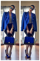 Cassey Cakes - Ray Ban Flash Lens, Mango Tailored Blazer, Dorothy Perkins Skirt, Dorothy Perkins Cobalt Blue Pumps - Monday Blues