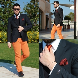 Gabriel - Hugo Boss Blazer, Hugo Boss Pants, Asos Sunglasses, Hugo Boss Sweater, Hugo Boss Shirt, Zara Shoes - VITAMIN C
