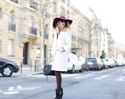 Caroline Louis - Maison Michel Hat - White and Burgundy