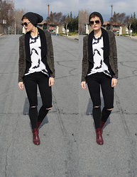 Bethany R. - American Eagle Outfitters Jeggings, Camouflage Blazer, Bat Tank, Dr. Martens Eloise Boot - Battastic