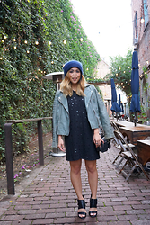 Yuka I. - Acne Studios Beanie, All Saints Jacket, Drifter Dress, Zara Heels - Daily dose