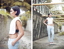 Kookie B. - Cropped Top, Tailored Trousers, Céline White Wedges - Status