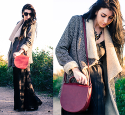 Chelsea Den - Nordstrom Shearling Coat, Vintage Slip, Matt + Nat Purse, American Apparel Sunglasses - Long Black Dress