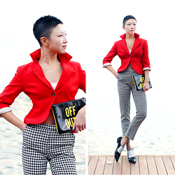 Yaki Man - Kate Spade Clutch, Topshop Pants, Pedder Red Shoes, Banana Republic Blazer - Red is always slick