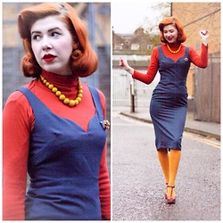 Pip Jolley - Tara Starlet Peggy Dress, Primark Tights, Topshop Wedges, Papaya Polo Neck, Freedom Beaded Necklace, Vintage 1940s Brooch - Nine