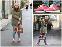 Angelica Giannini - Massimo Rebecchi Parka, Saucony Sneakers Original Jazz - Sneakers Saucony Original Jazz